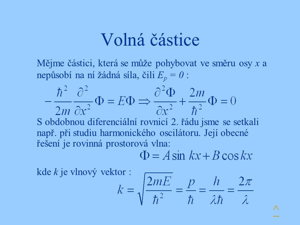Volná částice Mějme částici, která se může pohybovat ve směru osy x a nepůsobí na ní žádná síla, čili Ep = 0 :