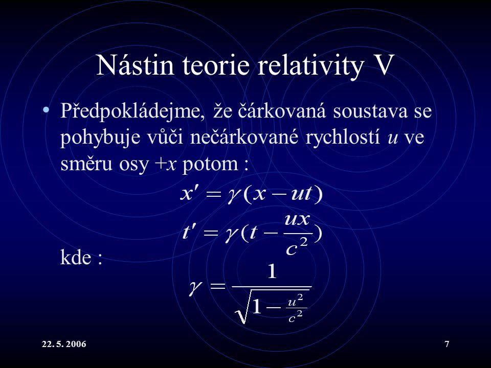 Nástin teorie relativity V