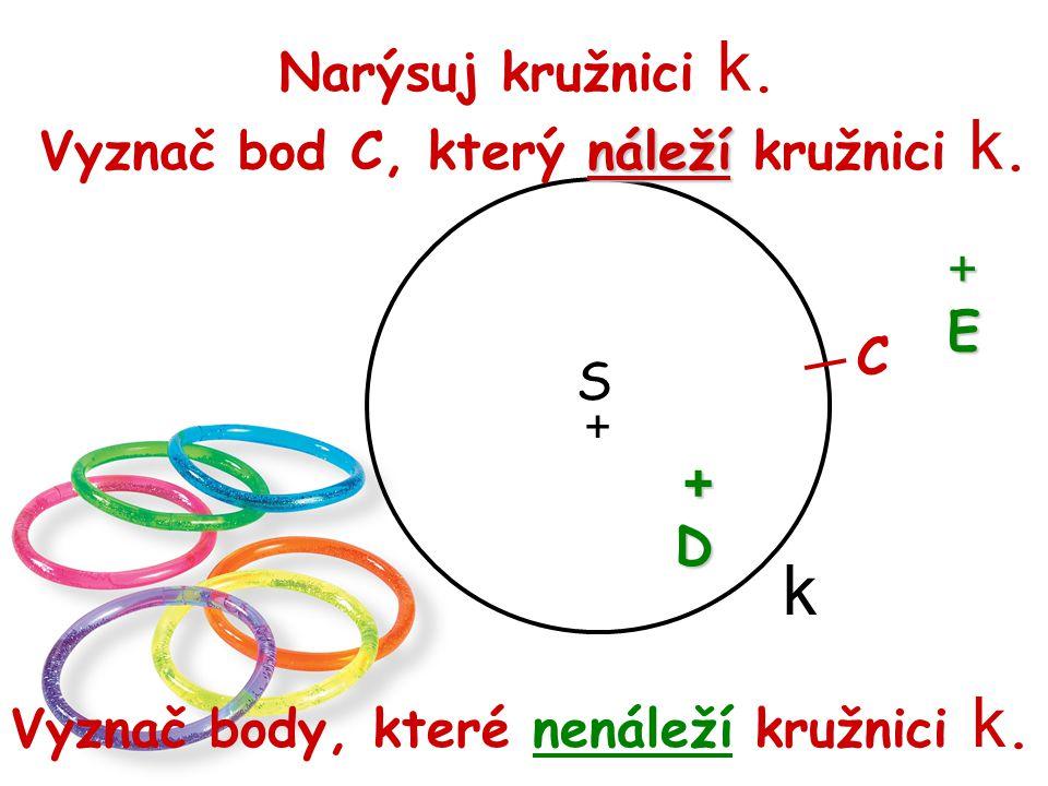 k Narýsuj kružnici k. Vyznač bod C, který náleží kružnici k. + E C S +
