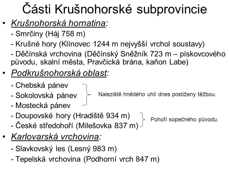 Části Krušnohorské subprovincie