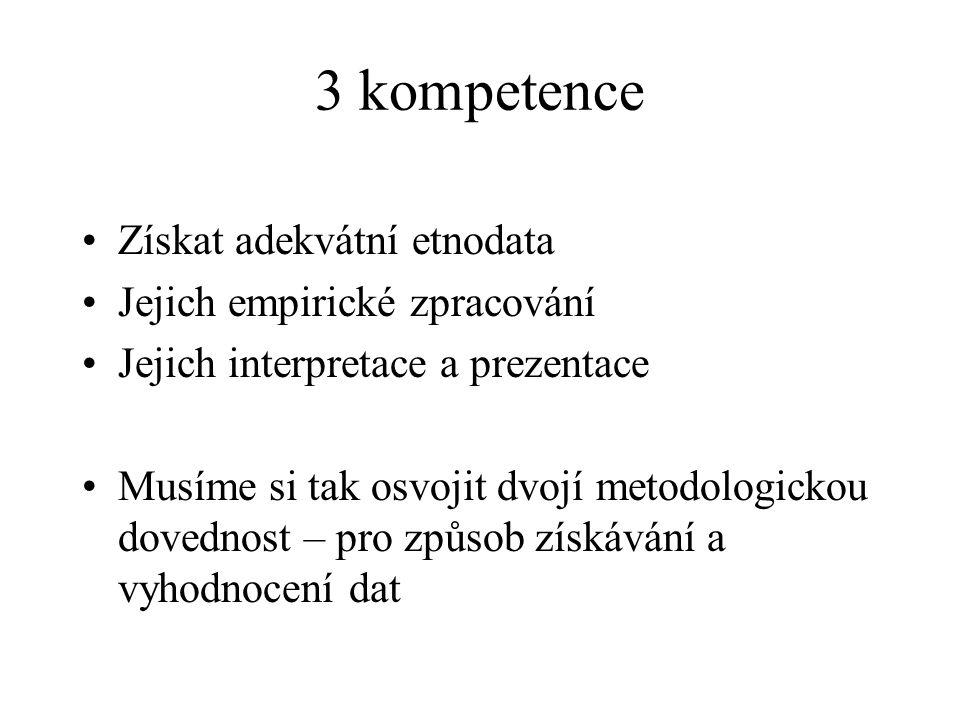 3 kompetence Získat adekvátní etnodata Jejich empirické zpracování