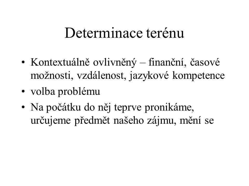Determinace terénu Kontextuálně ovlivněný – finanční, časové možnosti, vzdálenost, jazykové kompetence.