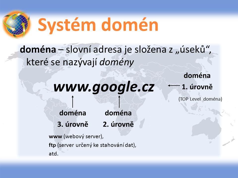 """Systém domén doména – slovní adresa je složena z """"úseků , které se nazývají domény www.google.cz doména."""