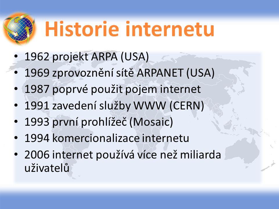 Historie internetu 1962 projekt ARPA (USA)
