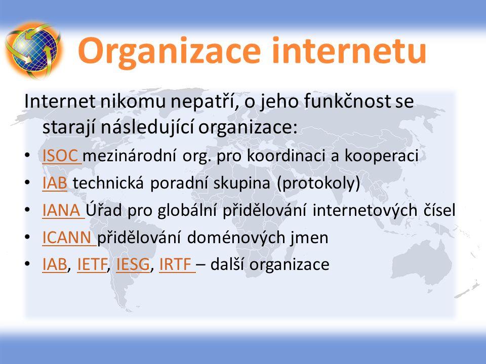 Organizace internetu Internet nikomu nepatří, o jeho funkčnost se starají následující organizace: ISOC mezinárodní org. pro koordinaci a kooperaci.