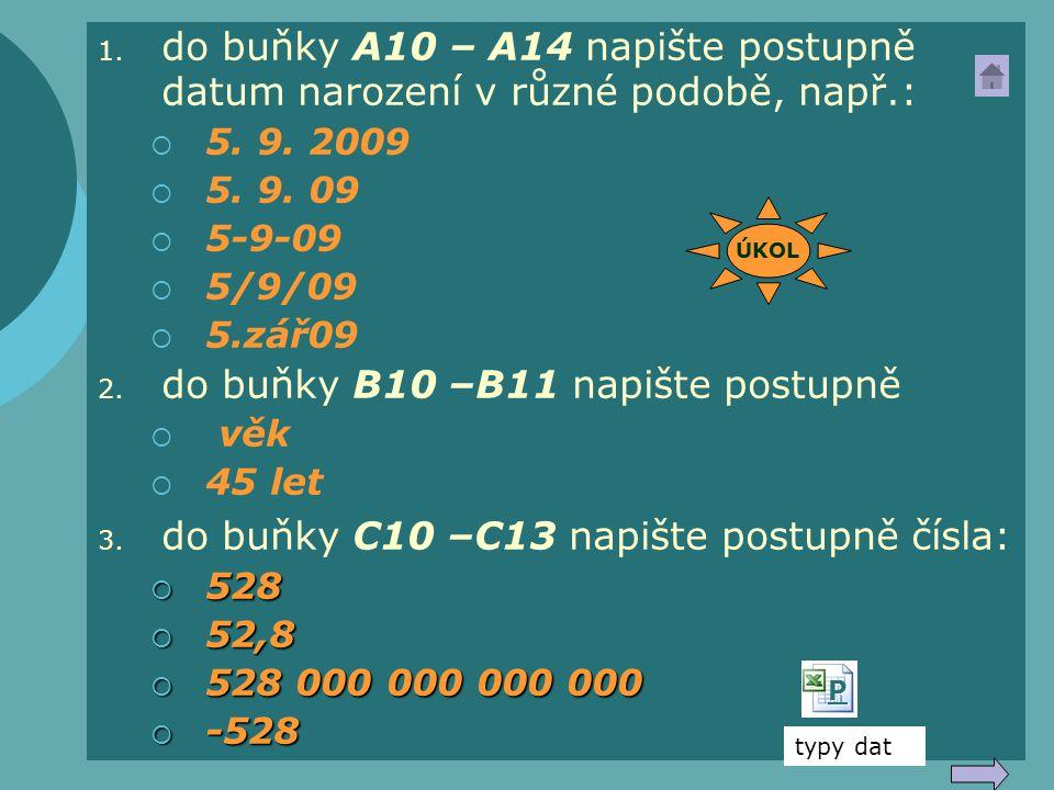 do buňky B10 –B11 napište postupně