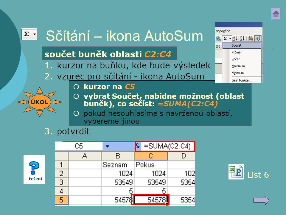 Sčítání – ikona AutoSum
