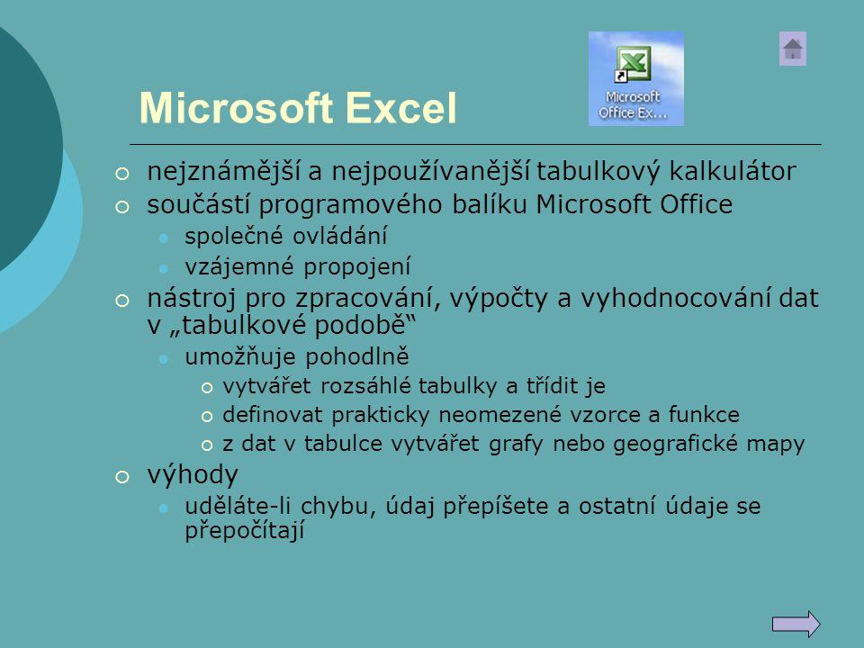 Microsoft Excel nejznámější a nejpoužívanější tabulkový kalkulátor