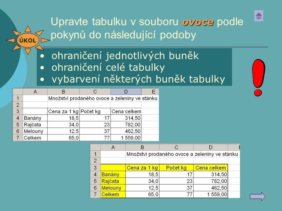 Upravte tabulku v souboru ovoce podle pokynů do následující podoby