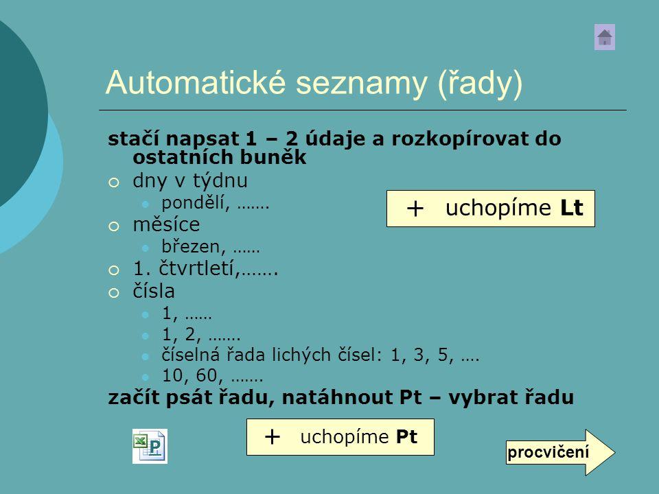 Automatické seznamy (řady)