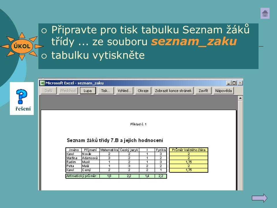 Připravte pro tisk tabulku Seznam žáků třídy ... ze souboru seznam_zaku