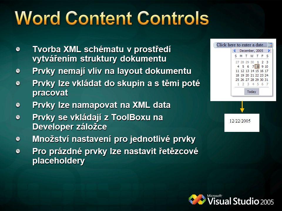 Word Content Controls Tvorba XML schématu v prostředí vytvářením struktury dokumentu. Prvky nemají vliv na layout dokumentu.