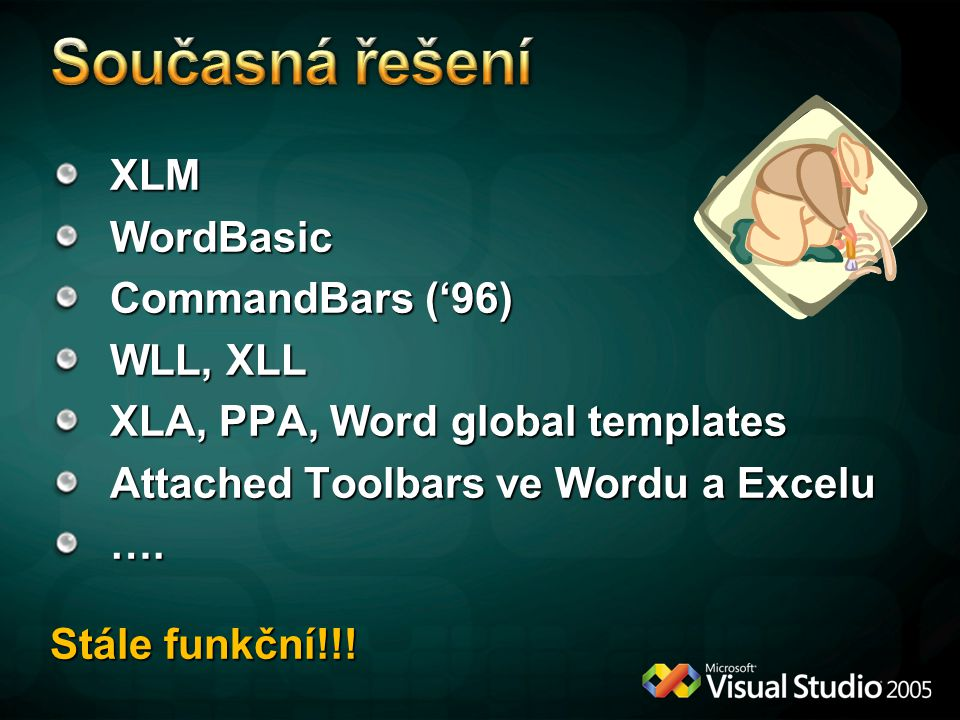 Současná řešení XLM WordBasic CommandBars ('96) WLL, XLL