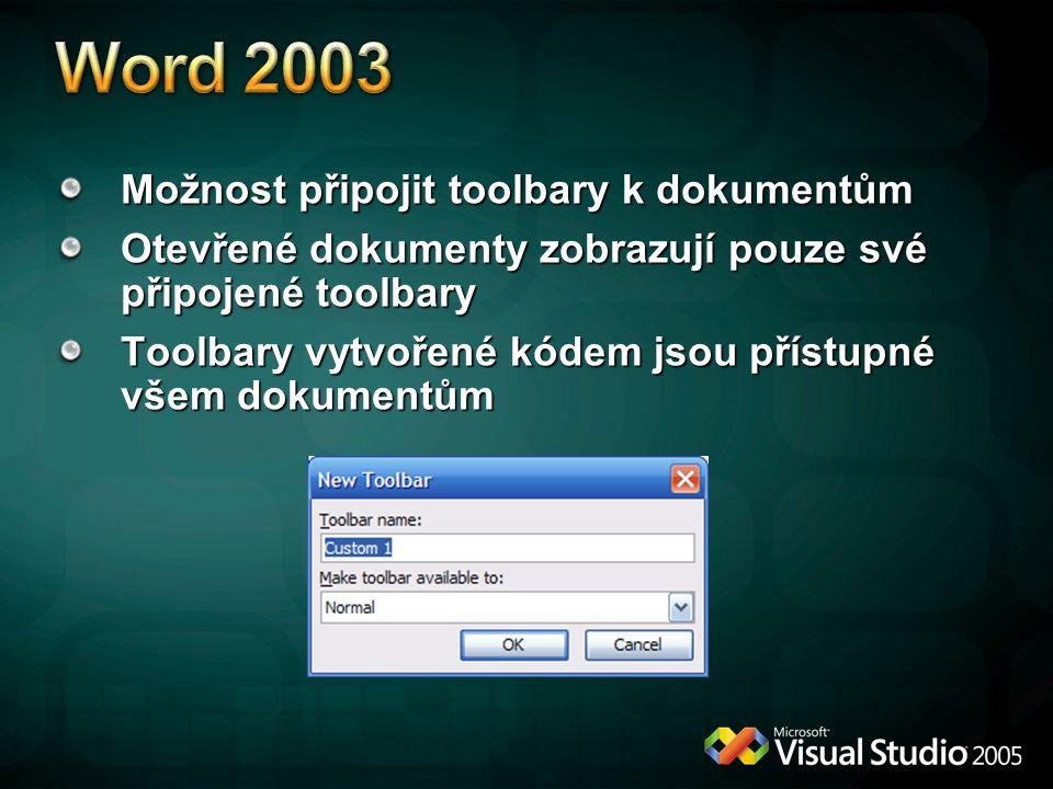 Word 2003 Možnost připojit toolbary k dokumentům