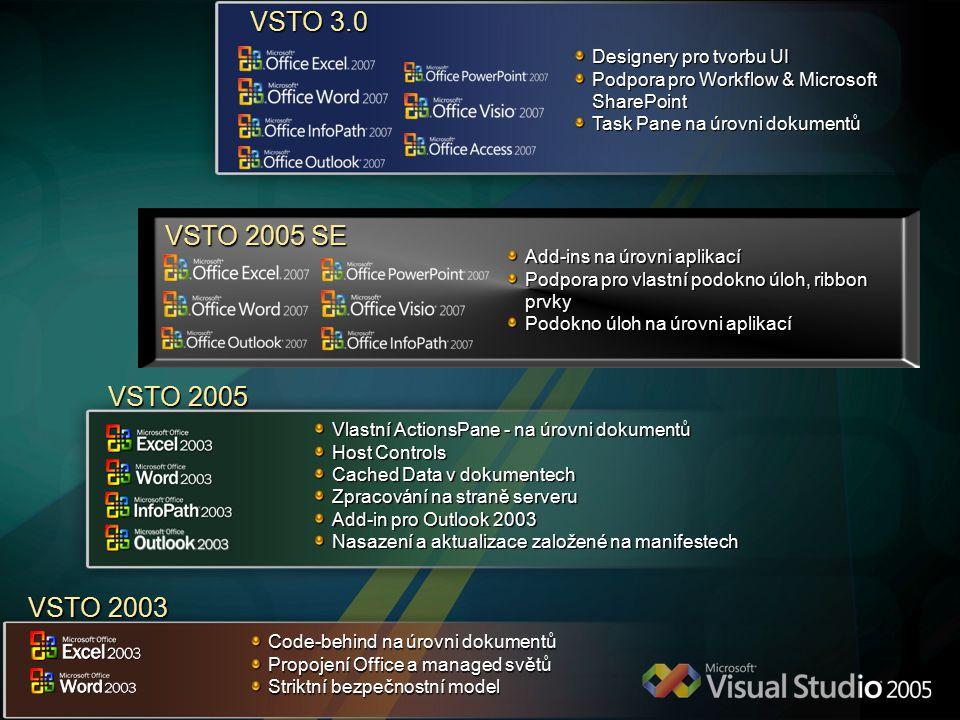 VSTO 3.0 VSTO 2005 SE VSTO 2005 VSTO 2003 Designery pro tvorbu UI