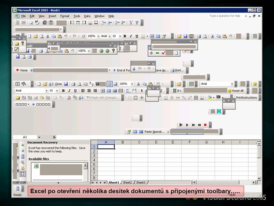 Excel po otevření několika desítek dokumentů s připojenými toolbary…..
