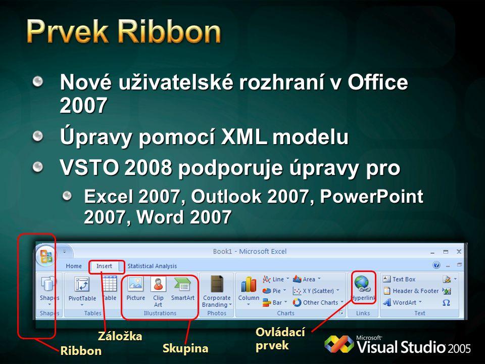 Prvek Ribbon Nové uživatelské rozhraní v Office 2007