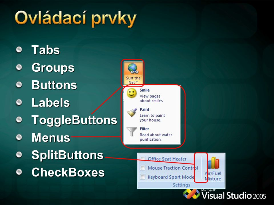 Ovládací prvky Tabs Groups Buttons Labels ToggleButtons Menus