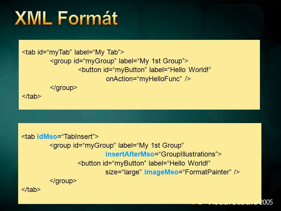 XML Formát * * <tab id= myTab label= My Tab >