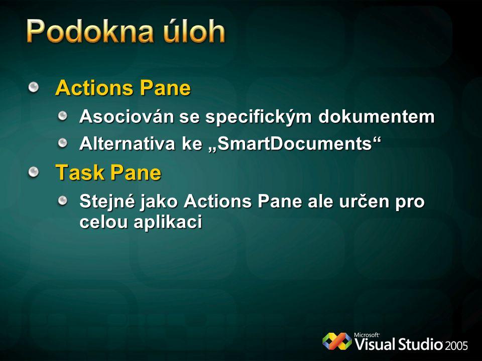 Podokna úloh Actions Pane Task Pane