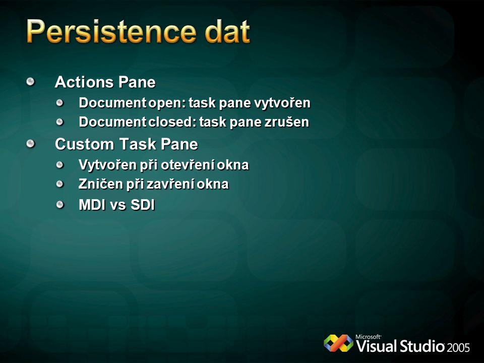 Persistence dat Actions Pane Custom Task Pane MDI vs SDI