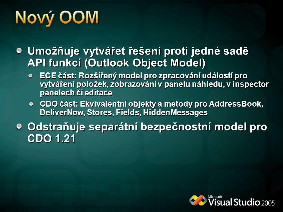 * 4/13/2017 9:38 AM. Nový OOM. Umožňuje vytvářet řešení proti jedné sadě API funkcí (Outlook Object Model)