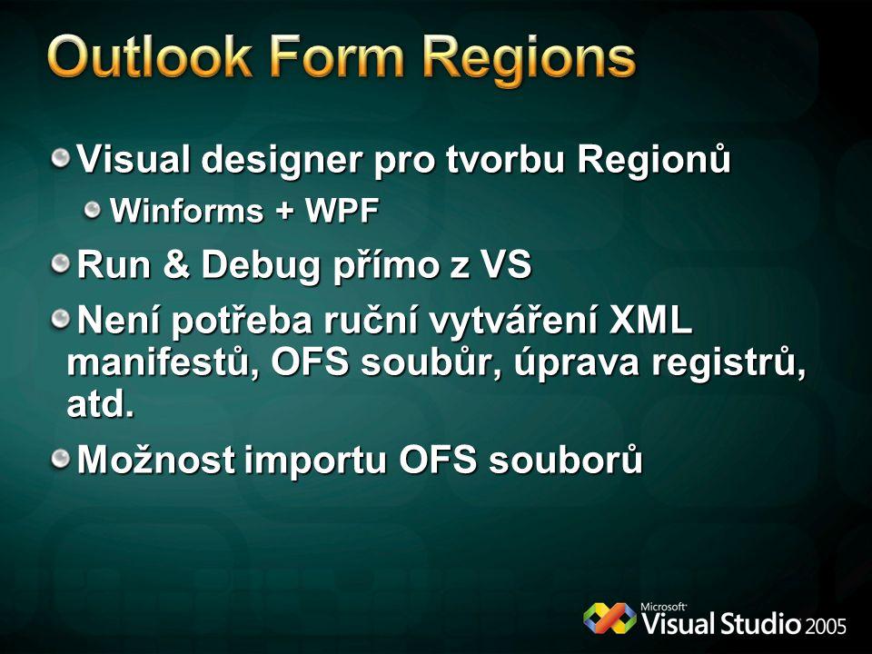 Outlook Form Regions Visual designer pro tvorbu Regionů