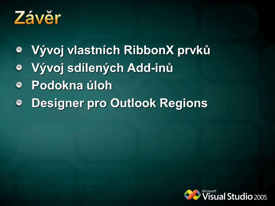 Závěr Vývoj vlastních RibbonX prvků Vývoj sdílených Add-inů