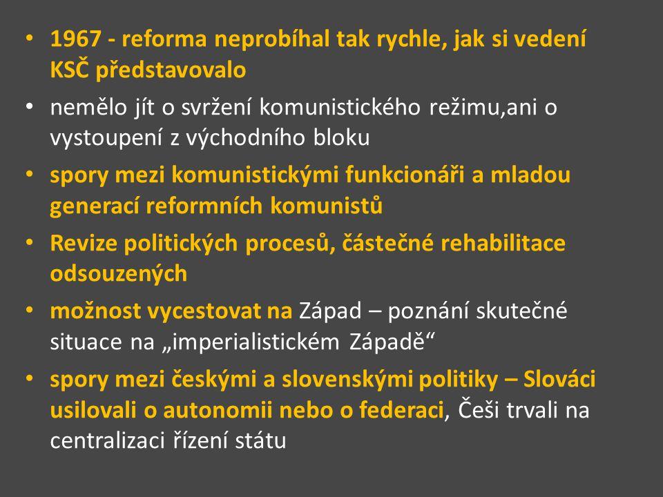 1967 - reforma neprobíhal tak rychle, jak si vedení KSČ představovalo