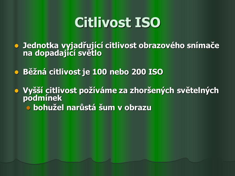 Citlivost ISO. Jednotka vyjadřující citlivost obrazového snímače na dopadající světlo.