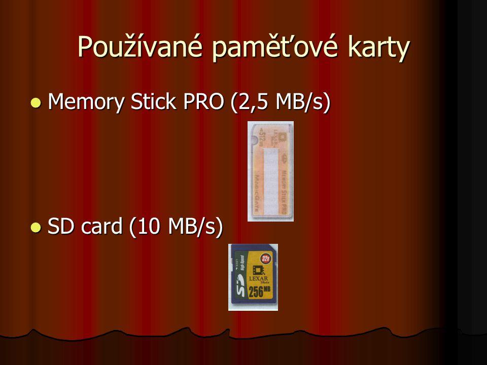 Používané paměťové karty