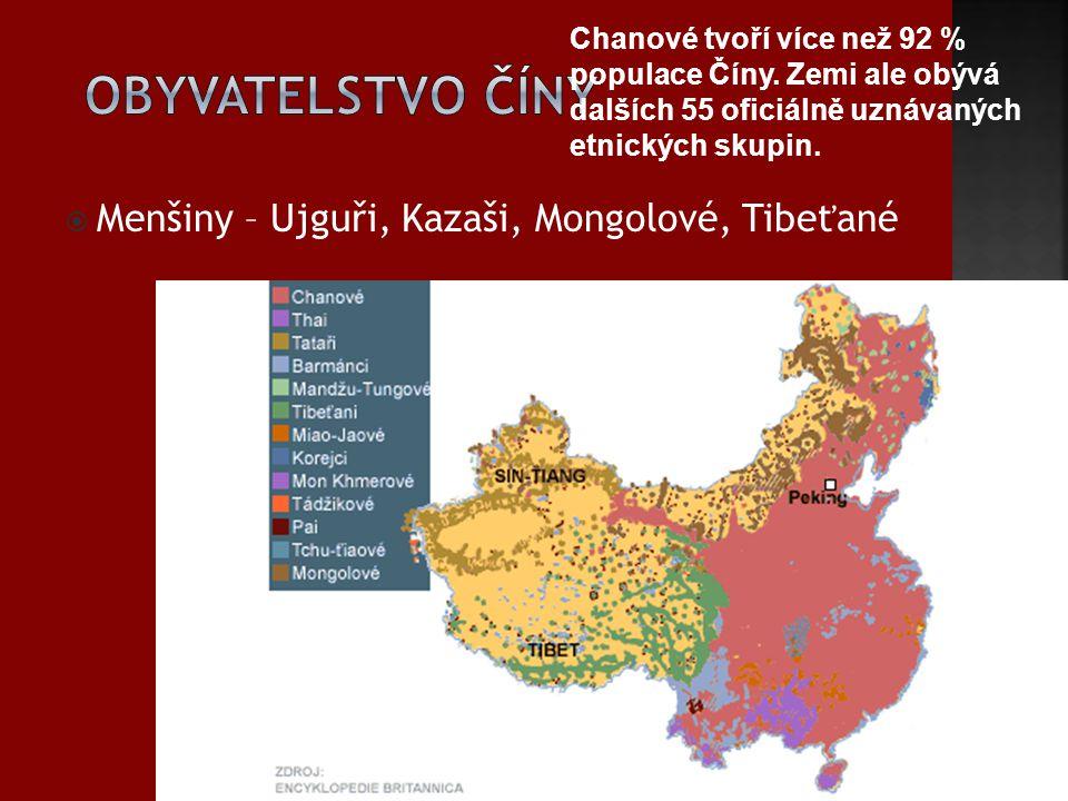 Obyvatelstvo Číny Menšiny – Ujguři, Kazaši, Mongolové, Tibeťané