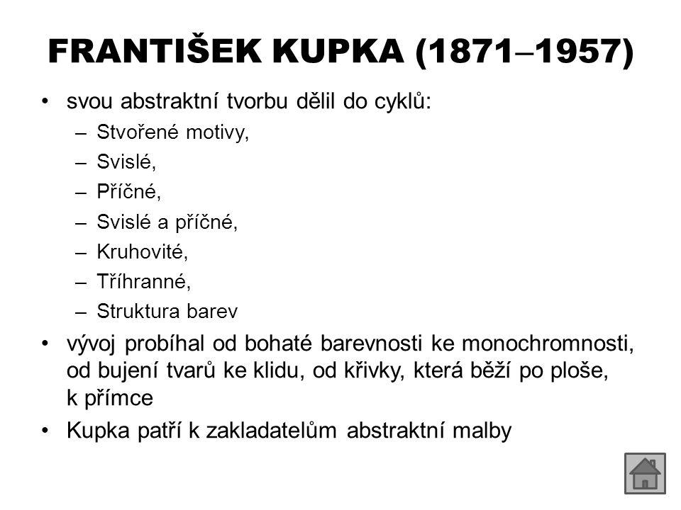 FRANTIŠEK KUPKA (1871–1957) svou abstraktní tvorbu dělil do cyklů: