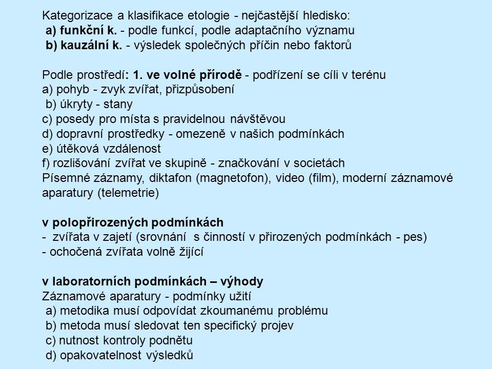 Kategorizace a klasifikace etologie - nejčastější hledisko: