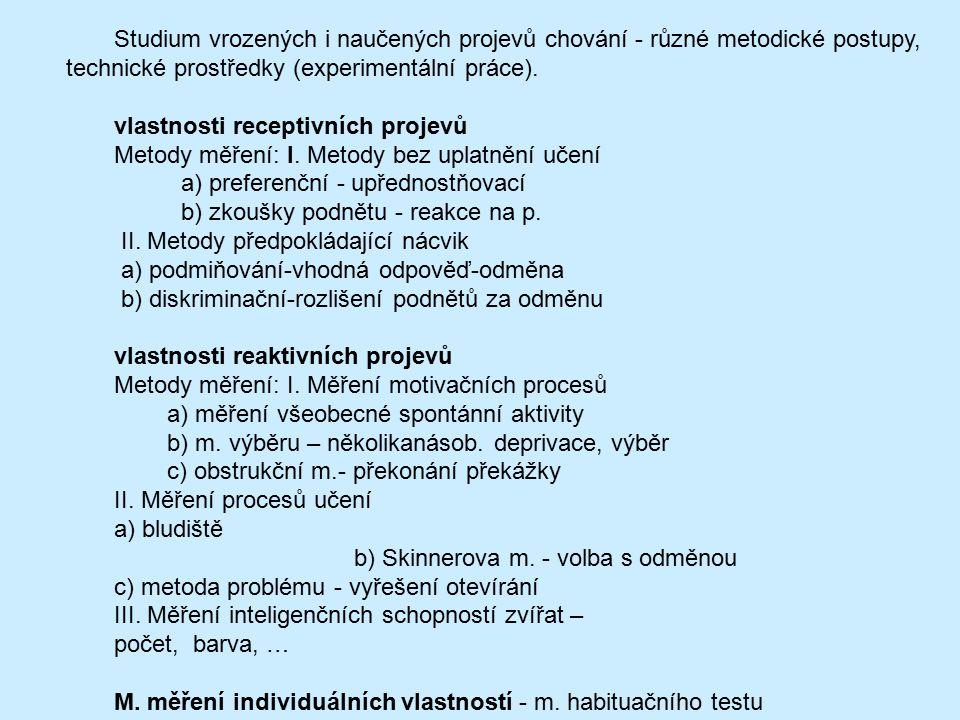 Studium vrozených i naučených projevů chování - různé metodické postupy, technické prostředky (experimentální práce).