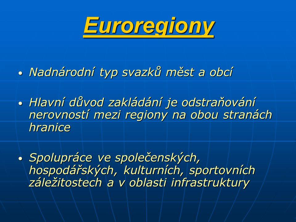 Euroregiony Nadnárodní typ svazků měst a obcí