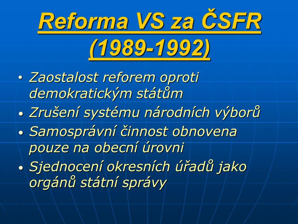 Reforma VS za ČSFR (1989-1992) Zaostalost reforem oproti demokratickým státům. Zrušení systému národních výborů.
