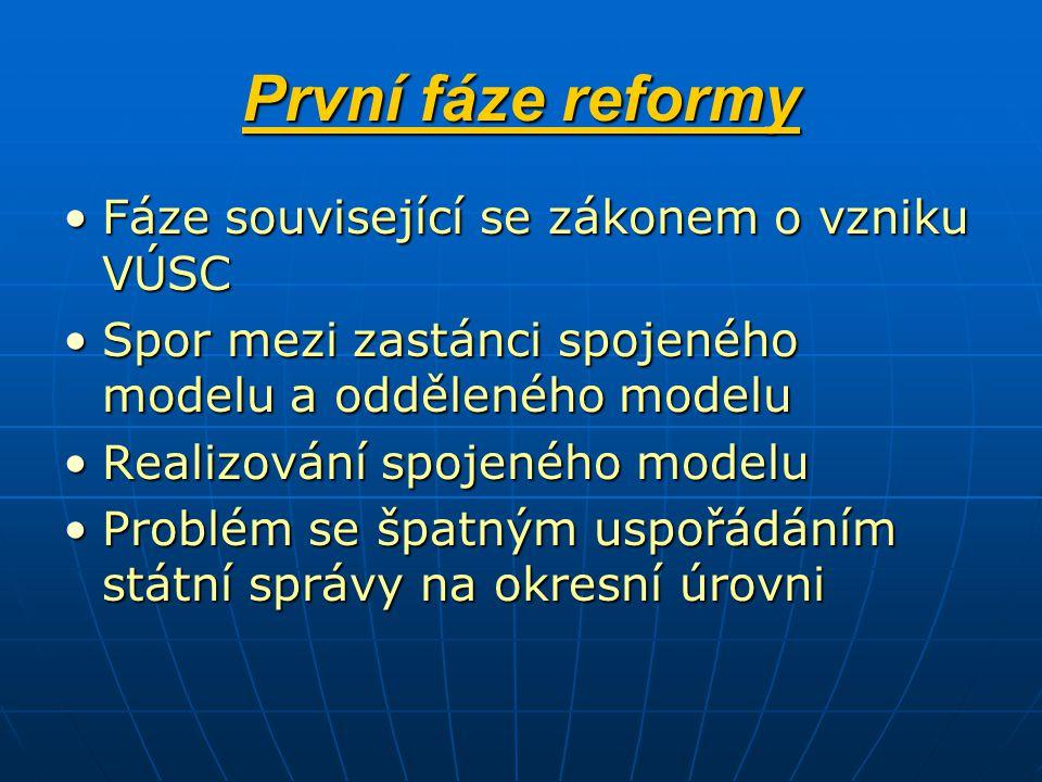 První fáze reformy Fáze související se zákonem o vzniku VÚSC