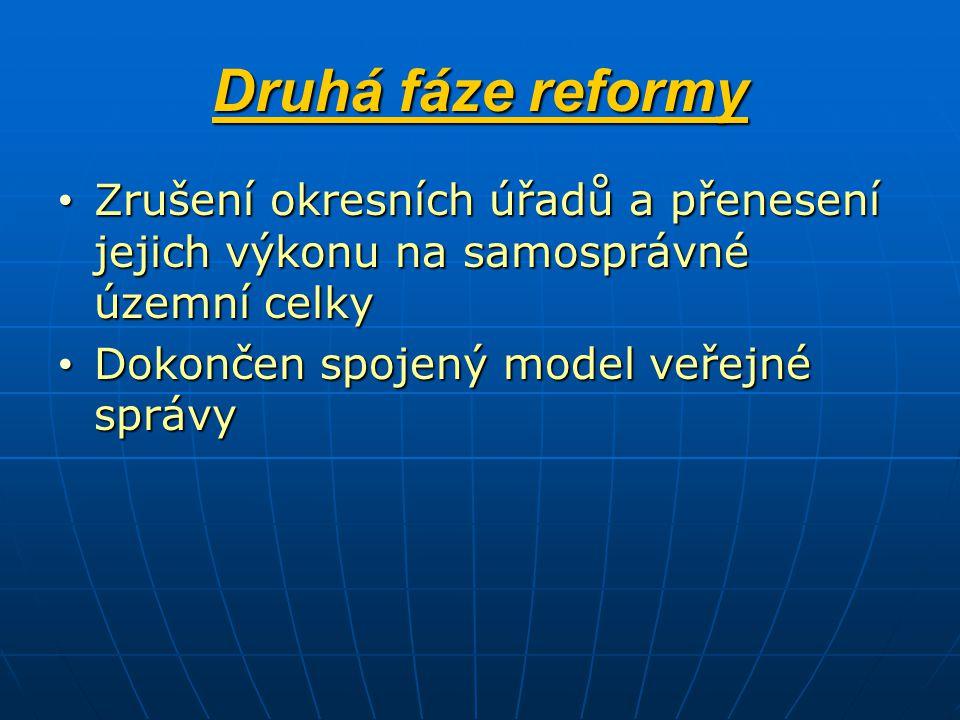 Druhá fáze reformy Zrušení okresních úřadů a přenesení jejich výkonu na samosprávné územní celky.