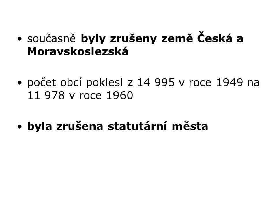 současně byly zrušeny země Česká a Moravskoslezská