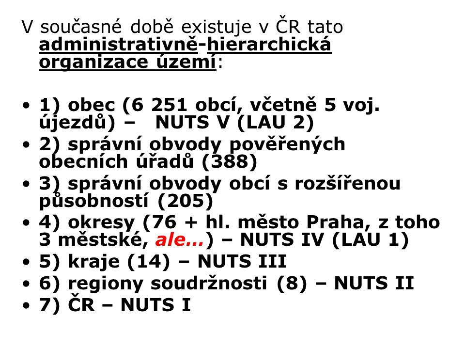 V současné době existuje v ČR tato administrativně-hierarchická organizace území: