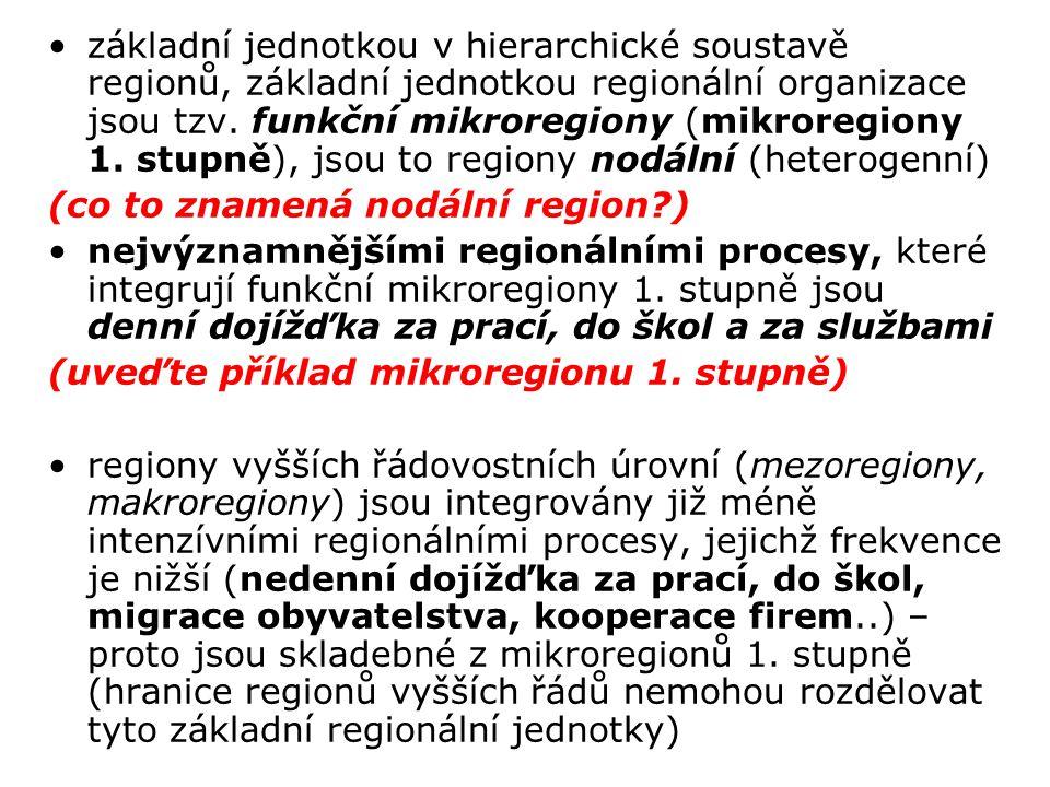 základní jednotkou v hierarchické soustavě regionů, základní jednotkou regionální organizace jsou tzv. funkční mikroregiony (mikroregiony 1. stupně), jsou to regiony nodální (heterogenní)