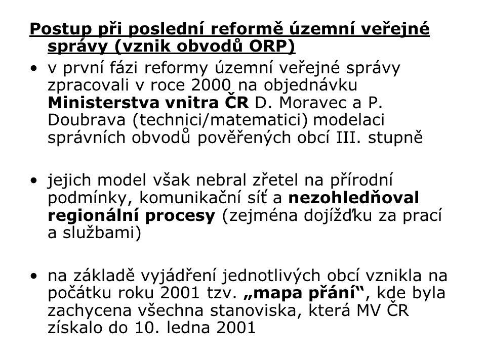 Postup při poslední reformě územní veřejné správy (vznik obvodů ORP)