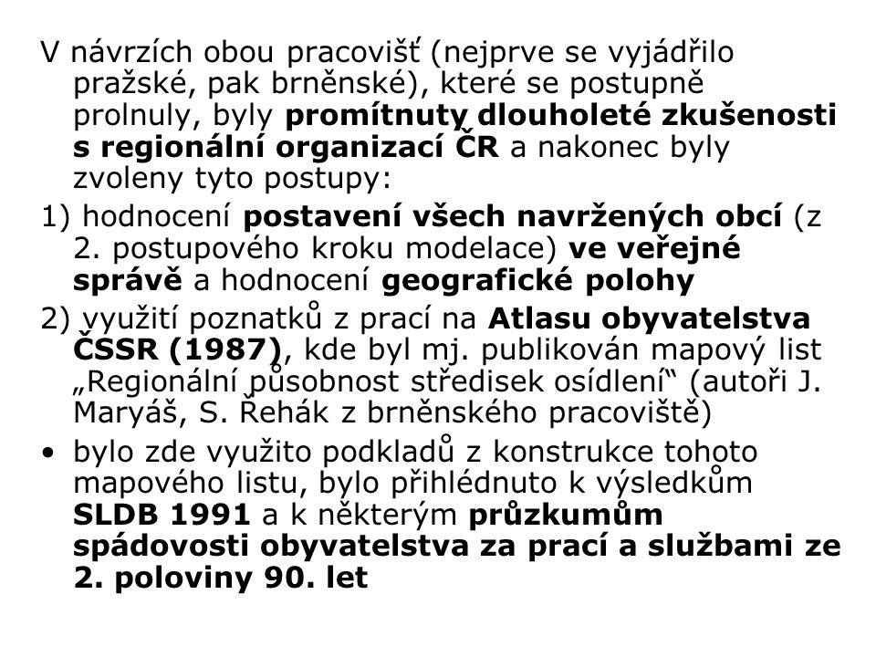 V návrzích obou pracovišť (nejprve se vyjádřilo pražské, pak brněnské), které se postupně prolnuly, byly promítnuty dlouholeté zkušenosti s regionální organizací ČR a nakonec byly zvoleny tyto postupy: