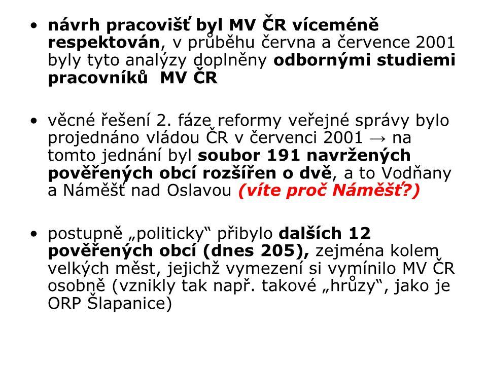 návrh pracovišť byl MV ČR víceméně respektován, v průběhu června a července 2001 byly tyto analýzy doplněny odbornými studiemi pracovníků MV ČR