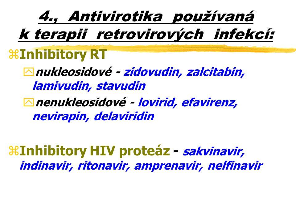4., Antivirotika používaná k terapii retrovirových infekcí:
