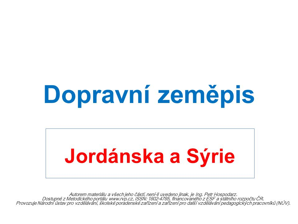 Dopravní zeměpis Jordánska a Sýrie