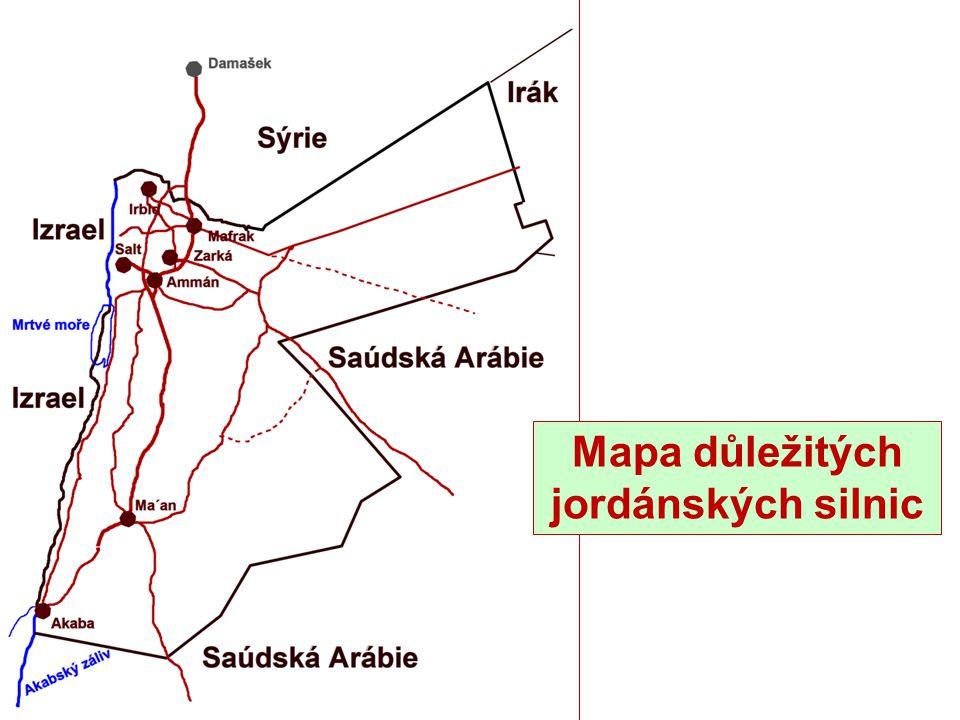 Mapa důležitých jordánských silnic