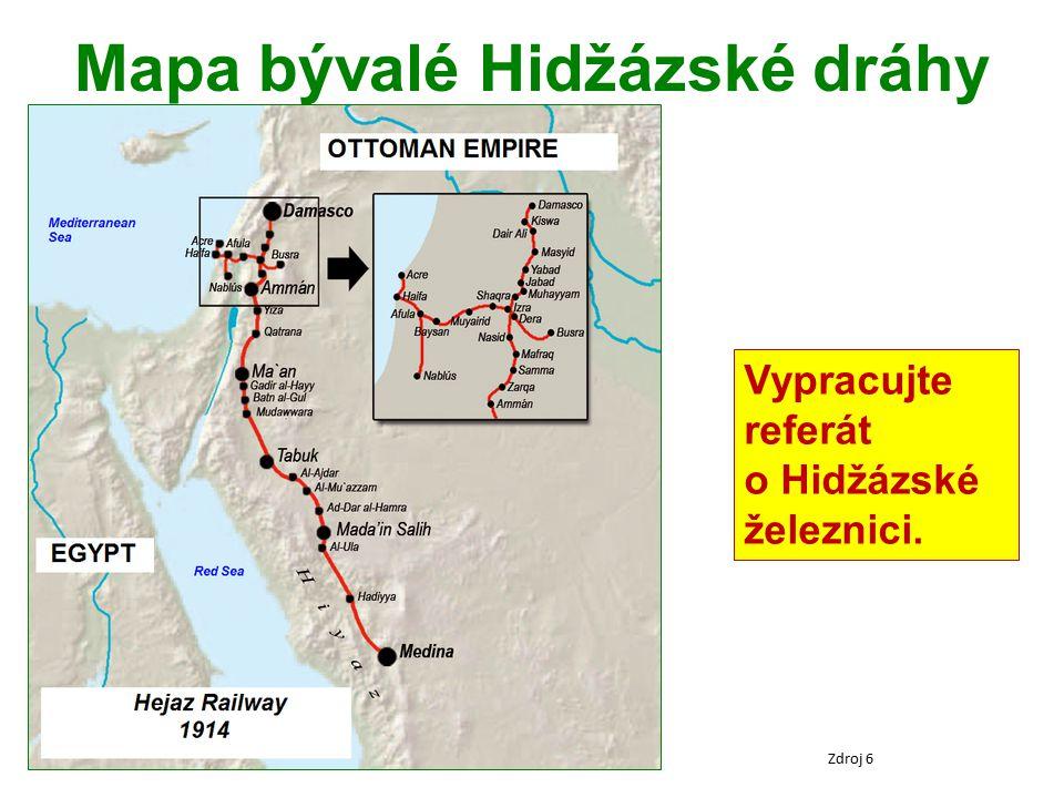 Mapa bývalé Hidžázské dráhy