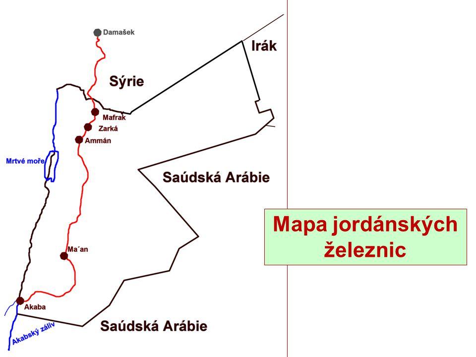 Mapa jordánských železnic